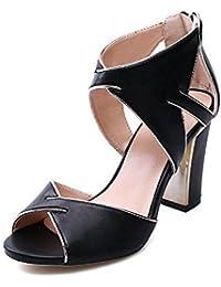 SHINIK Mujeres Ankle Strap Bombas de cuero liso Sandalias de tacón alto Verano Zapatos de cabeza de los pescados Sandalias Zapatos Peep Toe Zapatos de tacón Bloque Corte Damas Bombas Negro Blanco , black , 36
