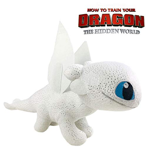 Play by Play HTTYD Dragons, como Entrenar a tu dragón - Peluche Furia Luminosa (Light Fury) Color Blanco con Brillante Calidad Super Soft 20cm (30cm Cola incluida) - 760017911 2