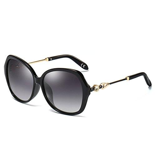 BLEVET Mode Groß Damen Sonnenbrille Polarisiert 100% UV-Schutz Brille [Diamant-Dekoration] BE005 (Black Frame Gray Lens)