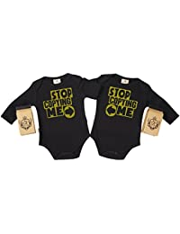 SR - Gift Boxed Stop Copying Me Organic Baby Twins Clothing - Baby Twins Babygrow Set - Baby Twin Gift - Baby Twins