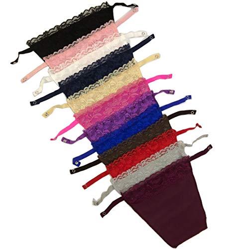 Metyou 12Pcs Dame Spitze Clip-on Mock Camisole BH Einsatz Overlay Modesty Panel Weste -