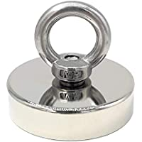 Magnetpro Imán de neodimio con ojales, 160 kg, imán de potencia, perfecto para pesca magnética, 60 mm de diámetro con ojales, imán de neodimio