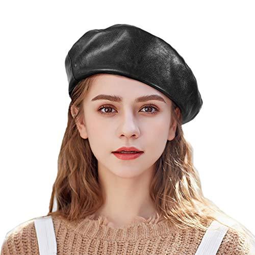 Tacobear Boina Mujer PU Cuero Retro Boina Sombrero Otoño Invierno Boina Gorro Clásico Francesa Boina Vasca para Mujer (Negro)