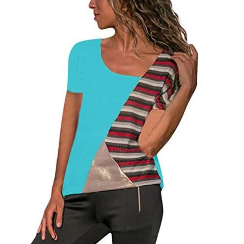 54818819eca633 Frauen Bluse/Dorical Damen Große größe Casual Kurzarm Patchwork Streifen  Rundhals Lose Hemd Pullover Sweatshirt