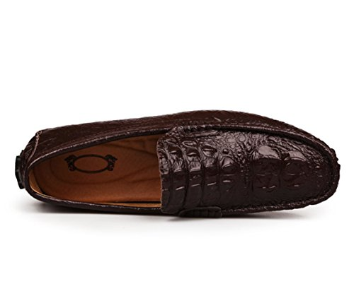 SK Studio Herren Fahrschuhe Mit Krokodil Textur Licht Mokassin Freizeit Slipper Fahren Schuhe Loafers Halbschuhe Kaffee