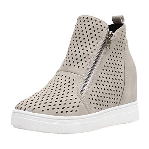 Dorical Plateau Sneakers für Damen/Frauen Keilabsatz Stiefeletten Wedge Plateau Boots Hohl Casual Keilabsatz Knöchel Ankle Boots 3 cm Bequeme Damenstiefel Gr 35-43(Grau,35 EU)