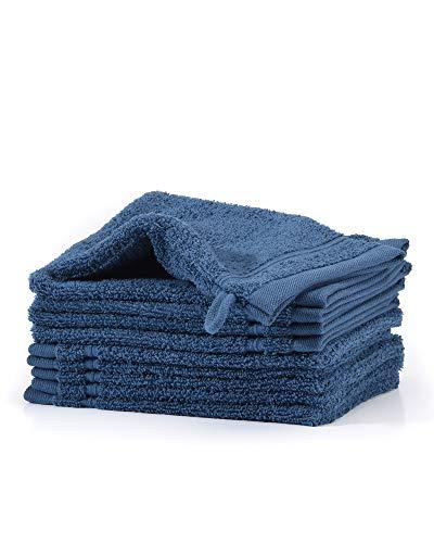 myHomery Waschlappen - Waschhandschuh aus Baumwolle Made IN EU - 10er-Set Wasch Lappen - Waschtuch für Gesicht und Körper - Lappen zum Waschen für Badezimmer und Dusche Marine Blau | 10er-Set