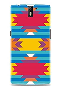 Kawach Case/Back Cover for OnePlus One + Free Tempered Glass - Abstract Print Case