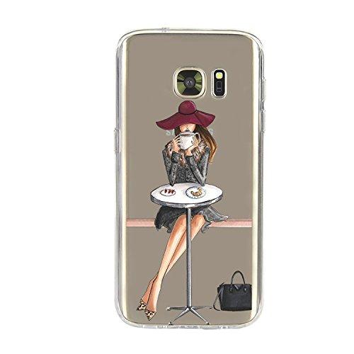 Galaxy S7 Edge Coque,Vanki Motif Plantes à fleurs Housse TPU Souple Etui de Protection Silicone Case Soft Gel Cover Anti Rayure Anti Choc pour Samsung Galaxy S7 Edge-Fashion girl 1