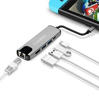 innoAura 5-in-1-Hub mit USB-C, USB 3.0, HDMI-Out, Ethernet für Switch, MacBook Pro und andere Geräte