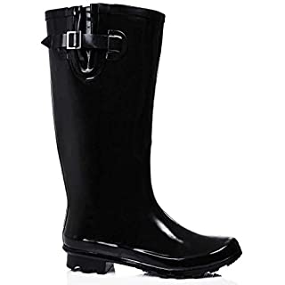 A&H Footwear New Womens Ladies Extra Wide Calf Snow Rain Mud Festival Waterproof Wellington Boots Wellies Sizes UK 3-8 (UK 7, Black Shiny)
