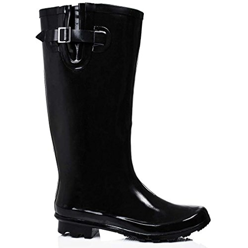 A&H Footwear Ladies Womens New Adjustable Calf Waterproof Rubber Festival Rain Mud Snow Girls Wellington Boots Wellies - Sizes UK 3-8