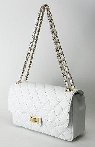 Borsetta donna alla moda in vera pelle italiana con manica tracolla concatena di lusso color oro White Comprar En Línea De Salida El Precio Más Bajo DFswCg