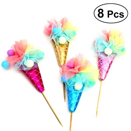 BESTOYARD Kuchen Topper Eis Cupcake Dekoration für Geburtstag Hochzeit Supplies (Zufällige Farbe) 8 Pcs (Geburtstag-kuchen-eis)