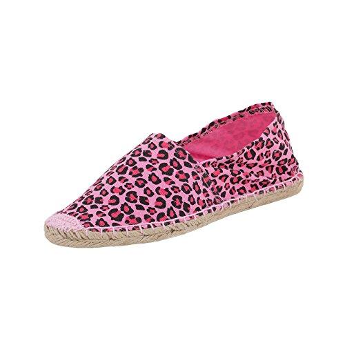Japanwelt Damen Espadrilles Canvas Leoparden Muster Sommer Leo Slipper Viele Farben Größe 37