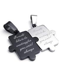 KONOV Schmuck 2 Freundschaftsketten Puzzle Love Edelstahl Partner-Anhänger mit 45cm und 55cm Kette, Halskette für Damen & Herren, Schwarz Silber