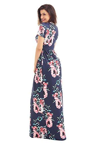 DOKOTOO Damen Kleid Marineblau/Blumenmuster