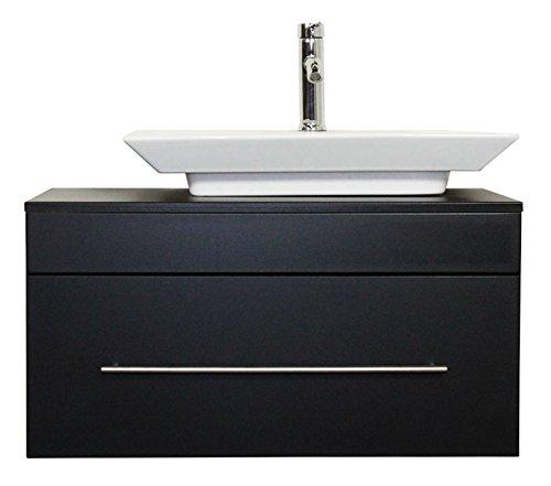 #emotion Badmöbel Pegasus schwarz seidenglanz mit Aufsatzwaschbecken#
