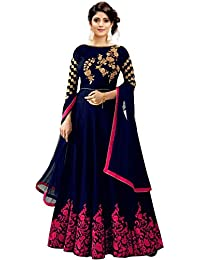 778c10dbe44 Mahalaxmi Fashion Women s Cotton Silk Anarkali Gown (Blue and Pink