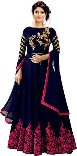 Mahalaxmi Fashion Women\'s Cotton Silk Anarkali Gown (Blue and Pink, Free Size)