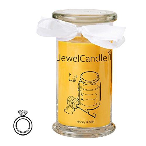 Jewelcandle honey & milk - candela in vetro con un gioiello - candela profumata giallo miele con una sorpresa in regalo per te (anello in argento sterling 925, tempo di combustione: 90-125 ore)(m)