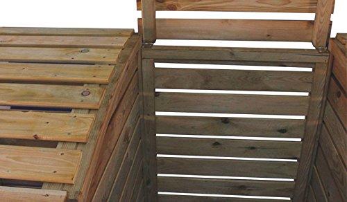 Mülltonnenbox aus Holz, Mülltonnenverkleidung – dreifach (für 3 Tonnen bis 240 Liter), wetterfest und somit ideal für draußen / Outdoor geeignet - 4