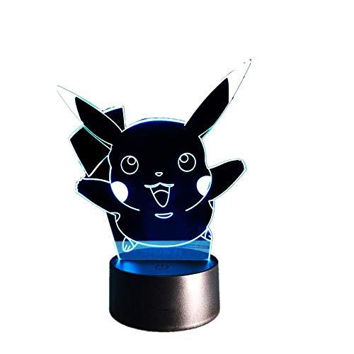 Wangzj 3d Illusion Lampada/Led Night Light/USB alimentato / 7 colori lampeggiante Touch Switch/Camera da letto Decorazione/Pokemon Pikachu