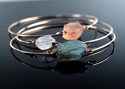 Trio de joncs or rose, diamants d'Herkimer, Labradorite et Cornaline