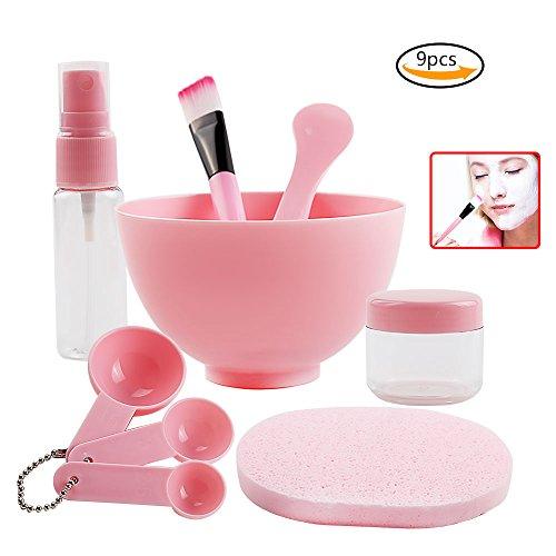 Teenitor 9 in 1 Maske Schüssel (3.95×2.35) DIY Gesichtsmaske Werkzeug mit Großvolumiger Schüssel Puff Pinsel Spatel Gauges Soaking & Spray Flasche Damen Gesichtspflege Mask Bowl Pink