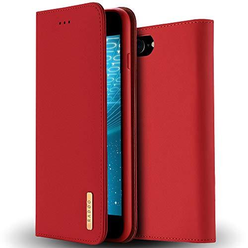 Radoo iPhone 8 Lederhülle,iPhone 7 Hülle, Luxus Premium Echtes Leder Klapphülle Slim Lederhülle TPU Innenraum Case Schlanke Ledertasche Handyhülle für Apple iPhone 8/iPhone 7 4.7