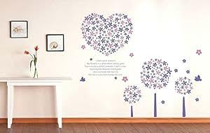 ufengke® Arbre Fleur Créatif et Romantique Coeur Stickers Muraux Bricolage, Salle de Séjour Chambre à Coucher Autocollants Amovibles