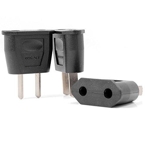 neuftech 3x adaptador de viaje Conector de Euro de hembra a conector de Estados Unidos US 2pin–Negro