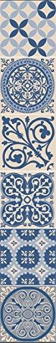 Plage Smooth - Tiles Fliesen Sticker Zementfliesen blau [6 Bogen 15 x 15 cm x 5.90\'\' ], Vinyl, Blue and beige, 15 x 0,1 x 15 cm