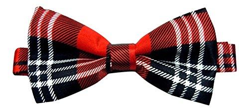 Hommes de luxe Écossais Tartan Rouge et Noir ajustable Noeud papillon (Red Black tartan)