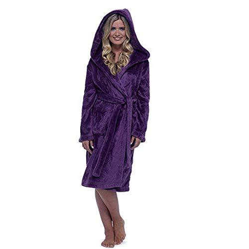 TianWlio Damen Dessous Frauen Winter Plüsch Verlängert Schal Bademantel Hause Kleidung Langärmelige Robe Mantel