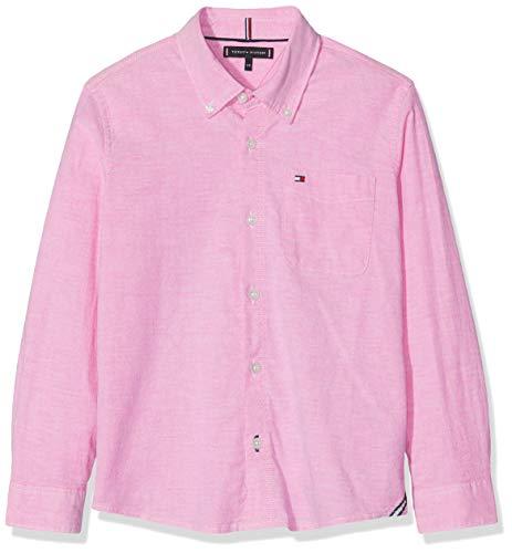 Tommy Hilfiger Essential Solid Oxford Shirt L/s Blusa, Morado (Fuchsia Purple 503), 140 (Talla del Fabricante: 10) para Niños