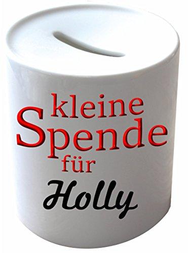 Spardose Porzellan, bedruckt mit Holly -
