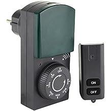 FUNK-ZEITSCHALTUHR STECKDOSE plus Fernbedienung von 4smile | mechanische Schaltuhr mit Countdown-Funktion und LED-Anzeige | für den Außenbereich IP 44 | Kinderschutz | Farbe: schwarz-grün