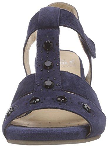 Caprice - 28304, Scarpe col tacco con cinturino a T Donna Blu (Blau (OCEAN SUEDE 857))