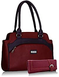 Fantosy women maroon and purple handbag and wallet FNB-325_079