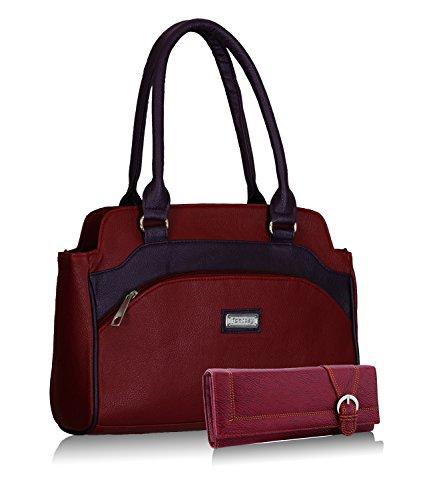 Fantosy women maroon and purple handbag and wallet FNB-325_079
