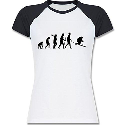 Shirtracer Evolution - Skiabfahrt Evolution - Zweifarbiges Baseballshirt/Raglan T-Shirt für Damen Weiß/Navy Blau