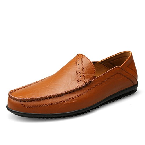 Minitoo Boys Mens Simple Solid Slip-Ons Casual Penny Loafers Brown
