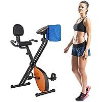 Preisvergleich für Relaxdays Fahrradtrainer klappbar, mit Rückenlehne, 8 Stufen Magnetwiderstand, LCD-Display, höhenverstellbar, mehrfarbig