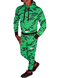 88dff929fc7e Herren Fitness Jogginganzug Sportanzug Hoodie und Hose Camouflage  Trainingsanzug R.F (A.4848)