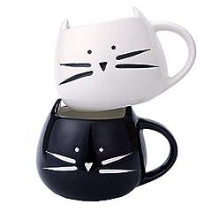 Idea Regalo - Tougo 2 Pz Tazza da caffè di Ceramica, caffè e Latte Tazza Compleanno, Bianchi e Neri, 350ml