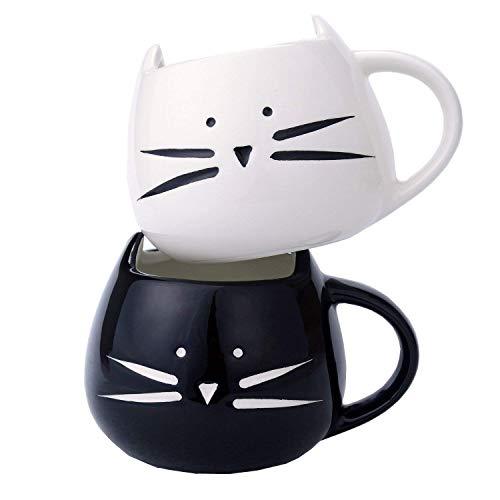 Tougo 2 Stück Kaffeetassen Kaffeebecher Set für Wasser/Tee / Milch/Kaffeeischer, Porzellan,Katze Design, 350ml, Ideales Geschenk für Hochzeit, Jubiläum und Weihnachten,Schwarz + weiß (Tee-set Schwarz Und Weiß)