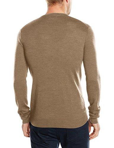 SELECTED HOMME Herren Pullover Shdtower Merino V - neck Noos, Einfarbig Beige (Tuffet)