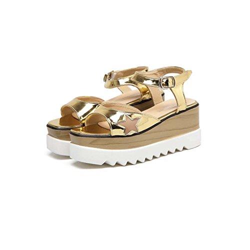 SHEO sandales à talons hauts Côté dames de la tête avec des sandales épaisses sur la pente inférieure avec des sandales décontractées ( Couleur : Noir , taille : 37 ) Or