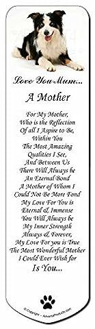 Tri- Border Collie Couleur 'Love You Mum' Bookmark, remplissage livre marque sto